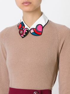embroidered heart collar