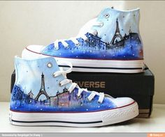 Eiffel tower shoes converse galaxy converse Custom converse hand painted shoes canvas shoes s Galaxy Converse, Cool Converse, Painted Converse, Outfits With Converse, Converse Sneakers, Boot Outfits, Wedge Sneakers, Converse Store, Girl Outfits