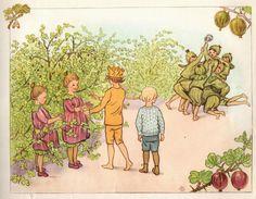 original title Little Lasse in the garden Elsa Beskow, Illustration Art, Book Illustrations, Women In History, Ad Design, Childrens Books, Cool Art, Drawings, Fairies