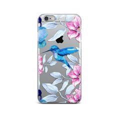 Custom printed Summer Hummingbird clear TPU phone case. TPU clear iphone 6s case, TPU plastic iPhone 6 case, clear TPU plastic iPhone 6plus case, clear