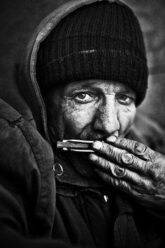 ♂ Black & white man portrait music Silent Harmonica Man. Copenhagen, DK. S)