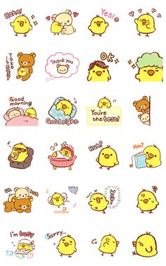 Rilakkuma~Kiiroitori Diary~ – LINE stickers Stickers Kawaii, Cartoon Stickers, Tumblr Stickers, Cool Stickers, Printable Stickers, Kawaii Faces, Cute Kawaii Drawings, Kawaii Doodles, Kawaii Chibi