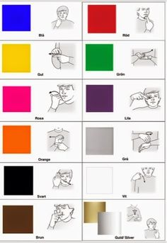 Tecken som stöd: färger Sign Language Games, Sign Language Colors, Sign Language Chart, Sign Language Phrases, Sign Language Alphabet, American Sign Language, Educational Activities For Kids, Preschool Activities, Preschool Photography