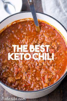 Keto Chili Recipe, Chili Recipes, Low Carb Chili Recipe With Beans, Low Calorie Chili Recipe, Oven Recipes, Low Carb Califlower Recipes, Low Carb Recipes, Low Carb Hamburger Recipes