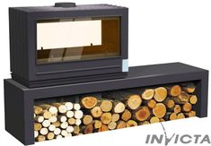 poele a bois aaron double face Log Burner Living Room, Cast Iron Stove, Freestanding Fireplace, Diy Fire Pit, Wood Burner, Decoration, Firewood, Modern Design, Decorative Boxes