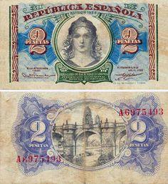 1938, billete de 2 pesetas
