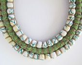 Fair Trade - Long Green, Yellow & White Three Strand Necklace (Baby Friendly)