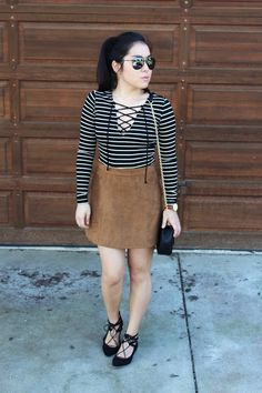 Striped lace up top, suede skirt, lace up flats | of life and style