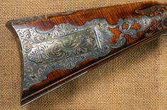 "Contemporary Makers: ""Golden Age"" Rifle by Jud Brennan Flintlock Rifle, Black Powder Guns, Rifle Stock, Long Rifle, Gun Art, Guns And Roses, Native American History, American Indians, Fire Powers"