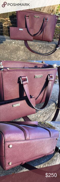 BURGUNDY KATE SPADE PURSE/WALLET BUNDLE This style and color is one of my personal favs. As you see the purse and wallet both in great condition. Minus the minor flaw on the inside small pocket. Pink staining of hand sanitizer. But overall both in fabulous condition. This plum color is beautiful and looks stylish with any outfit. kate spade Bags