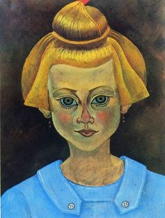 Joan Miró (1893-1983), portrait of a young firl, 1919. oil on paper on canvas, 34.8 x 27 cm.