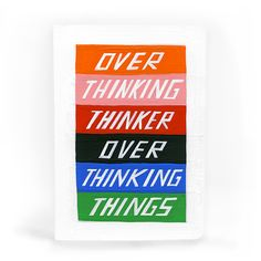 Overthinking Thinker Overthinking Things A5 Notebook / £5   Stylish and sassy notebook from Scott Patt's 'Bigger. Smaller. Funnier' 365 / painting-a-day project. Published by U STUDIO.    #notebook #gift #present #stylish #cheeky #fun #cool #art #design #typography #stationery #colour