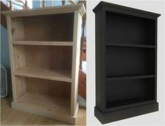 """""""I was inspired by the bookcase design Kreg had on their website, so I made an attempt to build my own. A little paint and I will be finished. I used the Kreg Jig® K4, pocket-hole screws from the Kreg Pocket-Hole Screw Kit, the Kreg Crown-Pro™, and the Kreg Square-Cut™ to complete my project. I put my bookcase beside your model. I think it looks pretty close. Thanks for the awesome tools."""" -Andrew K."""