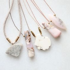 Marble, opal and magnesite necklaces
