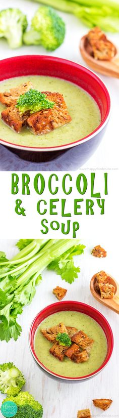 Creamy Broccoli & Celery Soup - 30-minute hearty vitamin packed broccoli & celery soup that will help you stay healthy! Only 3 main ingredients – broccoli, celery and onion. Vegetarian. | happyfoodstube.com