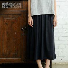 Mori Girls Cotton Long Skirt Comfortable Loose Dress MUJI Style