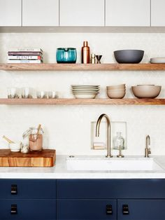 IKEA Kitchen Cabinets w/ wood shelves
