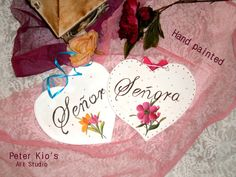 Two lovely Hearts -Rustic Wood Wedding Sign-Hand painted - Senor and Senora Wood Wedding Signs, Wedding In The Woods, Rustic Wood, Small Businesses, Hearts, Hand Painted, Invitations, Group, Amazing