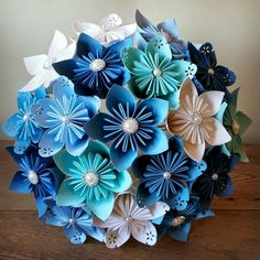 Paper Bouquet flowers origami kusudama bridal stationary made in UK blue white theme sea teal lagoon crystal groom mother of bride corsage Folded Paper Flowers, Paper Rosettes, Paper Flowers Craft, Paper Flower Backdrop, Giant Paper Flowers, Flower Crafts, Diy Flowers, Flower Decorations, Paper Crafts