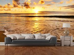 Beach Sunset wall mural room setting