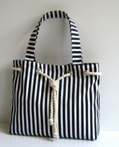 Sailor Tote Bag Navy Blue and White Stripe with Cotton Rope Accessory Christmas Market Tote Stripe Tote Bag White Shoulder Bag Navy Blue Nautical Tote Bags, Striped Tote Bags, Bag Patterns To Sew, Denim Bag, Fabric Bags, Market Bag, Handmade Bags, Bag Making, Purses And Handbags