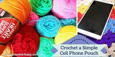 How to crochet a simple cell phone pouch. Video tutorial. These would make excellent gifts and craft fair items.