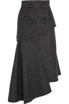 Gray and black wool Concealed zip fastening along side 100% wool; lining: 100% silk Dry clean