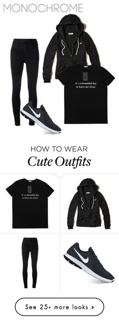 Relaxed Monochrome Outfit by kataetae on Polyvore featuring J Brand, NIKE and Hollister Co.