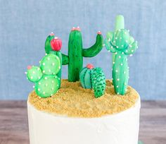 Cactus Cake and Cupcake Toppers by Confection Deception | Black Twine #cincodemayo #party #cactusparty