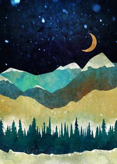 'Snow Night' Graphic Art Print on Wrapped Canvas Alpen Home Size: 66 cm H x cm W x cm D Framed Art Prints, Poster Prints, Canvas Prints, Canvas Fabric, Canvas Artwork, Canvas Wall Art, Tree Artwork, Abstract Canvas, Snow Night