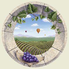Vineyard Daydream | Trompe L'oeil Art | by Dina Farris Appel