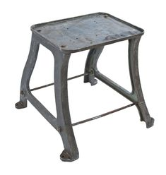 early 20th century antique american industrial refinished cast iron machine base with reinforced four-legged base and detachable solid iron deck with raised edges - Products