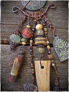 Chinese Bronze Coin Amulet Shaman necklace by maggiezees on Etsy Tribal Jewelry, Copper Jewelry, Boho Jewelry, Jewelry Art, Beaded Jewelry, Jewelry Design, Fashion Jewelry, Western Jewelry, Copper Wire
