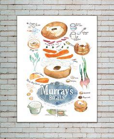Kitchen art, Bagel print, Illustrated recipe poster, Watercolor Food illustration, New York, Urban, NYC, Street food