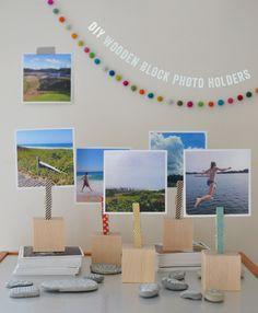 handmade: wooden block photo holders | art bar for small for big