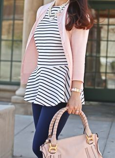 Business casual outfit - striped peplum, blush cardigan, Chloe marcie small satchel, navy ankle pants - click the photo for outfit details! Peplum Top Outfits, Cute Outfits, Peplum Tops, Petite Outfits, Work Fashion, Fashion Looks, Fashion Outfits, Fashion Top, Womens Fashion