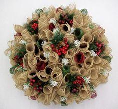 christmas burlap burgandy & green deco mesh spiral wreath -beautiful