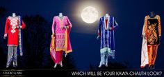 Which will be your #KarwaChauth Look?  From Left to Right >>  Vibrant Kameez with a dhoti salwar Shop @ https://www.studiokairi.com/kairi41  Sheer Georgette Suit with Zari Embroidery. Shop @ https://www.studiokairi.com/kairi111  Pakistani suit with pallazos Shop @ https://www.studiokairi.com/kairi119  Georgette suit with a velvet dhoti salwaar Shop @ https://www.studiokairi.com/kairi40