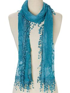2054c243df6 Cindy and Wendy Lightweight Soft Leaf Lace Fringes Scarf shawl for Women ( Blue) Fringe. Fringe ScarfScarf WrapDress With ...