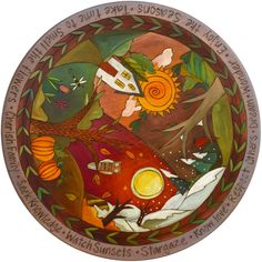 "Sticks creates this artistic one-of-a-kind lazy susan, constructed of hard wood. Hand drawn whimsical designs are burnt in, and then painted. * Sizes Available: * 20""D. * 24""D. * 28""D. * Signed, Dated"