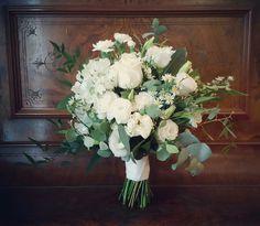 Paige's bridal bouquet, roses, lissianthus, spray carnations, Easter Daisy, poppies, cootamundra Wattle, eucalyptus silver dollar, eucalyptus blue gum, nandina