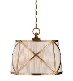 Visual Comfort Chart House Grosvenor Large Single Pendant in Antique-Burnished Brass with Linen Shade CHC1483AB-L | Visual Comfort Lighting Lights | Visual Comfort | Visual Comfort Lighting | Alexa Hampton | Visual Comfort Sconces | Lighting New York | Lighting Fixtures
