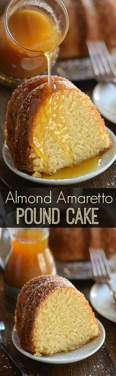 Almond Amaretto Pound Cake - A dense, moist poundcake flavored with almond and a., Desserts, Almond Amaretto Pound Cake - A dense, moist poundcake flavored with almond and amaretto liquor topped with a warm buttery amaretto sauce. Delicious Cake Recipes, Pound Cake Recipes, Yummy Cakes, Sweet Recipes, Dessert Recipes, Almond Pound Cakes, Moist Cake Recipes, 5 Flavor Pound Cake, Fancy Recipes