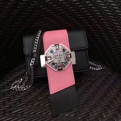 Prada jewels ribbon bag black+begonia pink