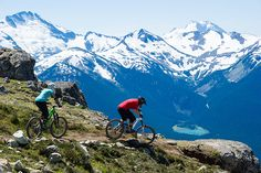 "Mountain biking on Whistler's alpine trail ""Top of the World"" 