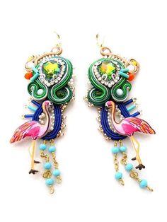chandelier earrings hot pink earrings dangle soutache earrings hoop earrings romantic earrings light green earrings clip on earrings