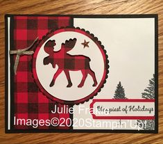 Homemade Christmas Cards, Stampin Up Christmas, Christmas Cards To Make, Handmade Christmas, Holiday Cards, Christmas Moose, Winter Christmas, Easy Cards, Cool Cards