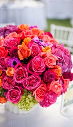 bright colors - green hydrangea with pink, red, orange and purple roses and mixed flowers! Drop the green hydrangea and that's my centerpiece! My Flower, Fresh Flowers, Flower Power, Beautiful Flowers, Colorful Roses, Bright Flowers, Happy Flowers, Pretty Roses, Beautiful Beautiful