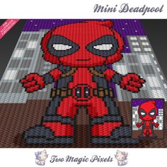 Mini Deadpool is a graph pattern that can be used to crochet a children blanket using C2C (Corner to Corner), TSS (Tunisian Simple Stitch) and other techniques. Alternatively, you can use this graph for knitting, cross stitching and other crafts.  This graph design is 80 squares wide by 100 squares high.  It requires 6 colors for the character and (optional) 5 colors for city background and character shadow.  Pattern PDF includes: - color illustration for reference - color squares pattern…
