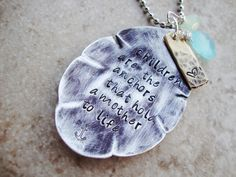 Mothers necklace upcycled tea spoon hammered hand stamped personalized on Etsy, $27.00
